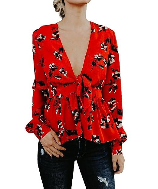 Targogo Blusas De Mujer Elegantes Manga Larga V Cuello Primavera Verano Vintage Hippie Estampado Flores Moda Casual Camisas Camiseta Blusa Top: Amazon.es: ...