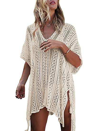 31a56a26e0b5 Moore Womens Cover Up Swimsuits Loose Casual Floral Hollow Out Beachwear  Dress Swimwear (Free Size