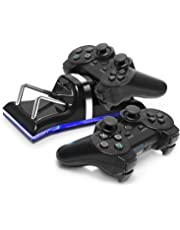 ELM Game Dual Charging Back Stand Docking Station with LED light Indicator Compatible with Sony PlayStation PS3 / PS 3 Slim Controller, Black