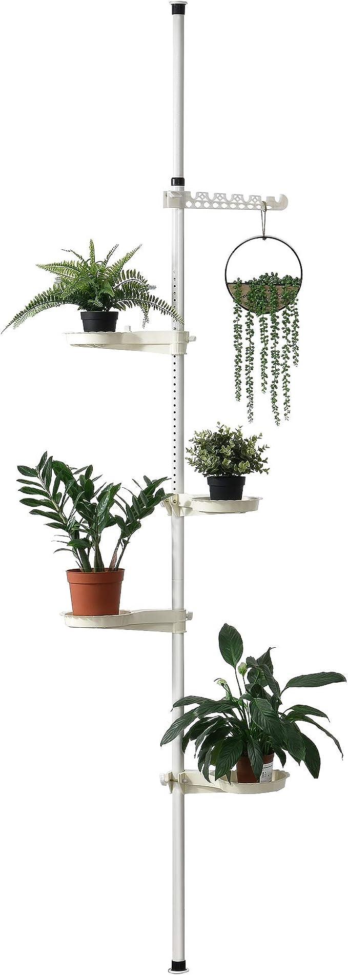 [en.casa] Telescopic Flower Shelf 110 - 305 cm Plant Stairs Plant Shelf, Holds up to 8 kg: Amazon.de: Küche & Haushalt