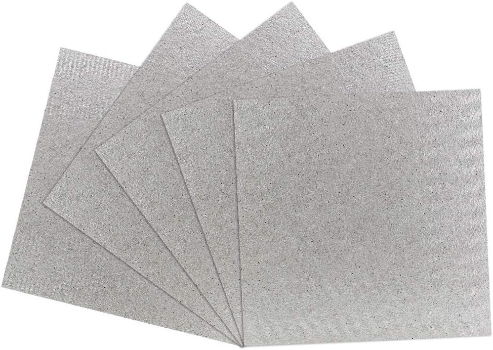 BUZIFU Microondas Placas de Mica, 5pcs Carton Microondas 13cm x 13cm, Lamina de Mica, Fácil de Marcarla y Cortar, Ideal para Cualquier Tipo de Microondas Estándar