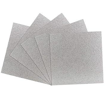 BUZIFU Microondas Placas de Mica, 5pcs Carton Microondas 13cm x 13cm, Lamina de Mica, Fácil de Marcarla y Cortar, Ideal para Cualquier Tipo de ...