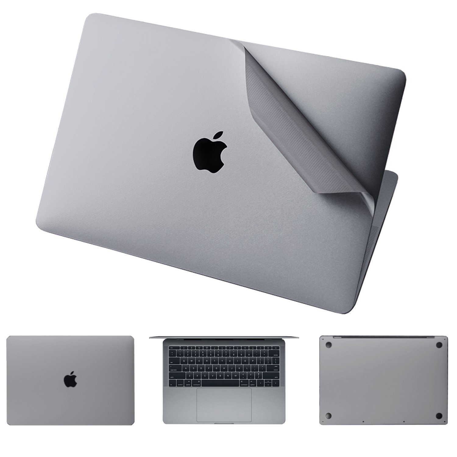 Leze - 4-in-1 Full Body Cover MacBook Skin Protector Decals Sticker for Apple Macbook Air 13-inch 13.3'' A1466 & A1369 - Space Gray
