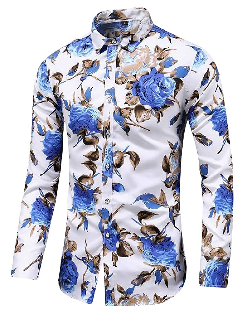 Pandapang Mens Solid Color Button Up Long Sleeve Turn Down Collar Casual Shirts