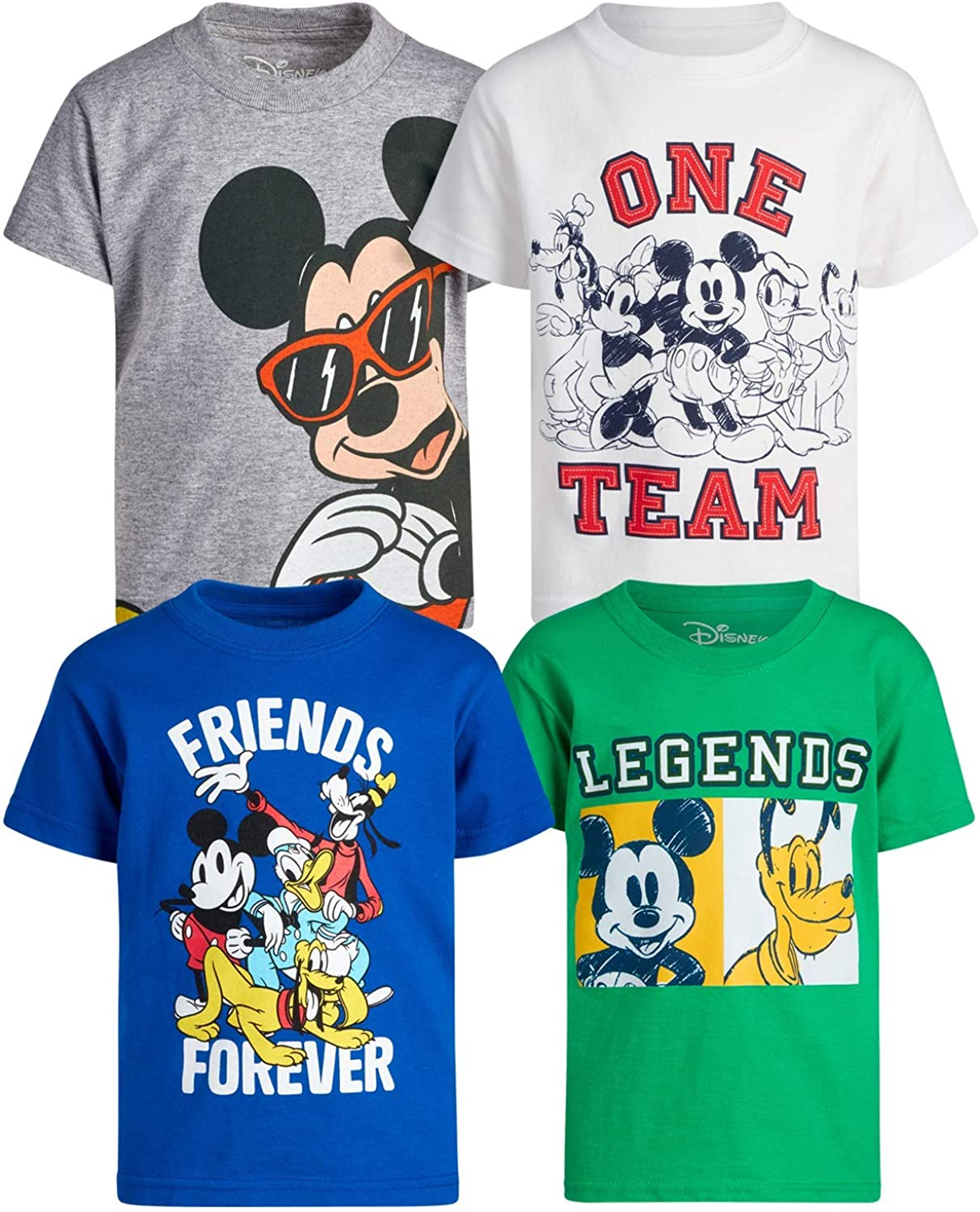 Disney Boys' 4 Pack T-Shirt - Mickey Mouse & Friends Short Sleeve Graphic Tee (Toddler/Little Boy)
