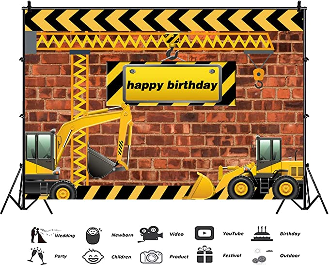 Construction 8x10 FT Photo Backdrops,Construction Tools in Cartoon Style Engineering Fixing Repairing Building Background for Child Baby Shower Photo Vinyl Studio Prop Photobooth Photoshoot Multicolo