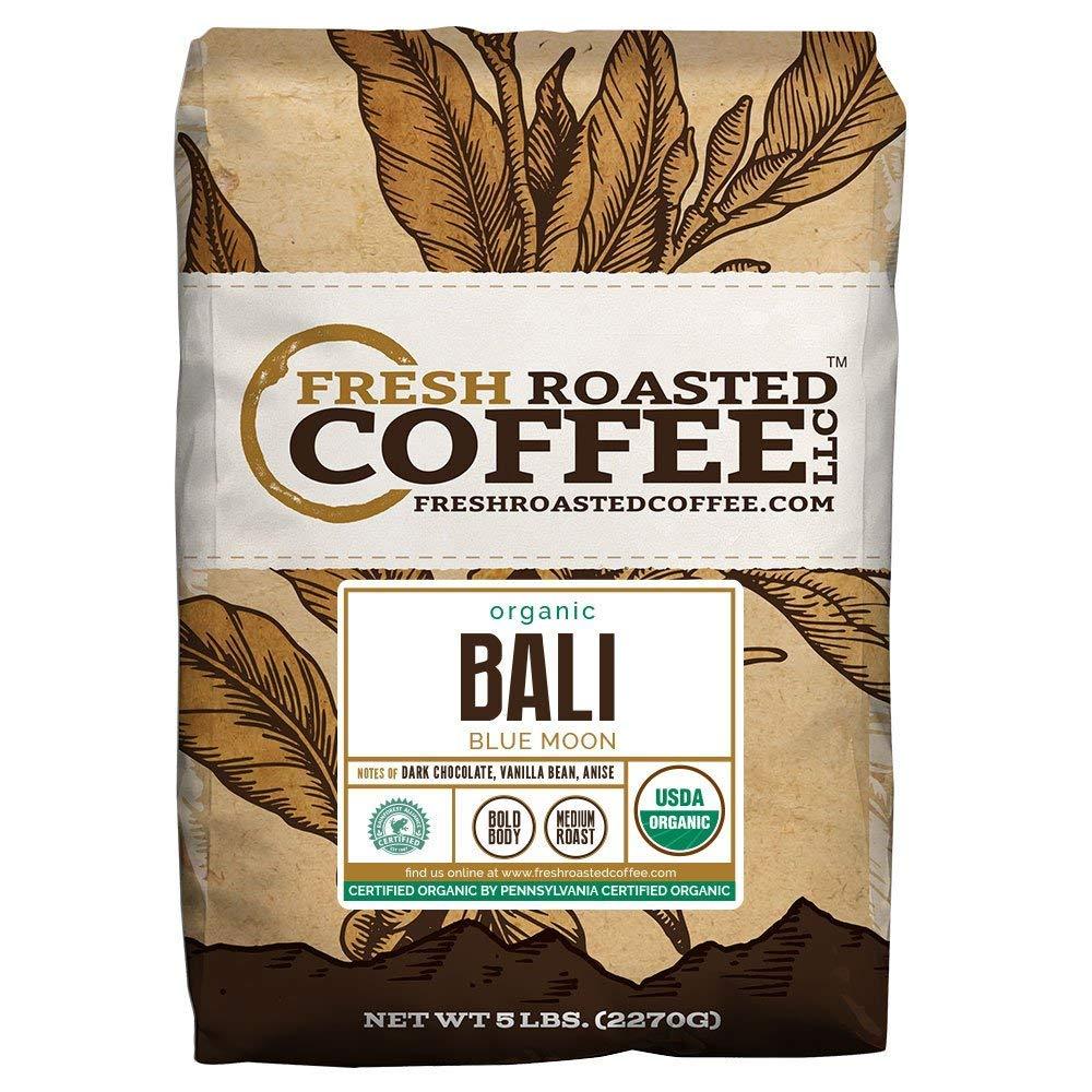 Fresh Roasted Coffee LLC, Bali Blue Moon Coffee, USDA Organic, RFA Certified, Medium Roast, Whole Bean, 5 Pound Bag