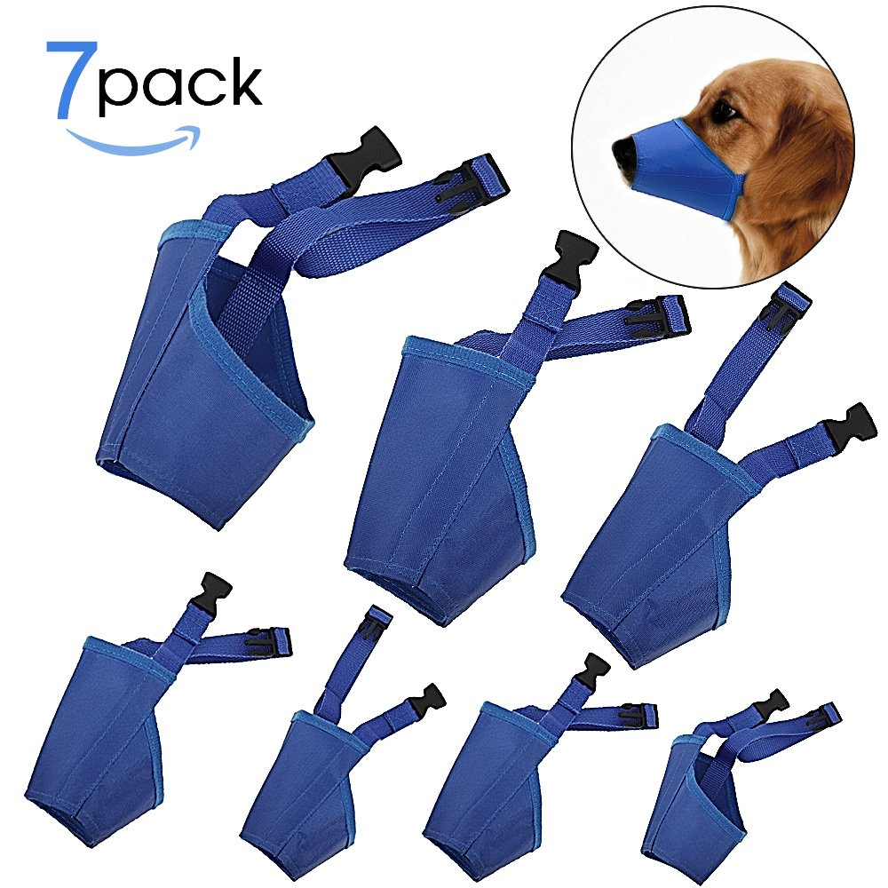 bluee UPPER 7Pcs Set Adjustable Breathable Safety Small Medium Large Extra Dog Muzzles for Anti-Biting Anti-Barking Anti-Chewing Safety Predection