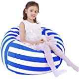 Lukeight Stuffed Animal Storage Bean Bag Chair Cover for Kids and Adults, Storage Bean Bag with Zipper for Organizing…