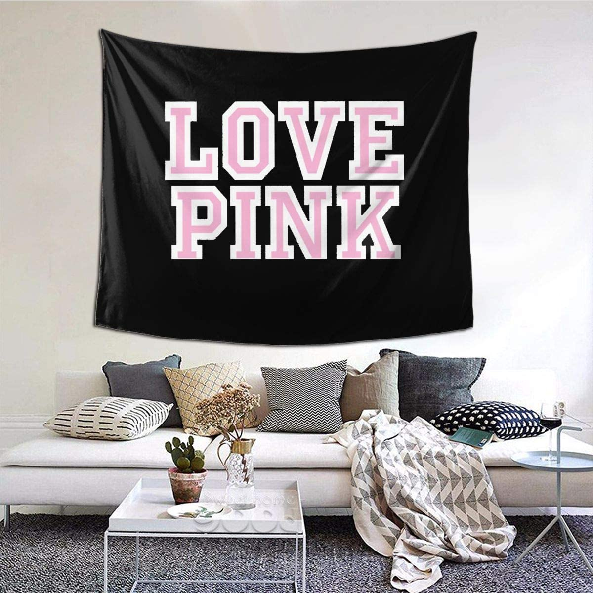 XIAOQIU Victoria Secret Love Pink Tapestry 6051inch Beautiful Tapestry Indoor Tapestries The Bedroom Tapestry