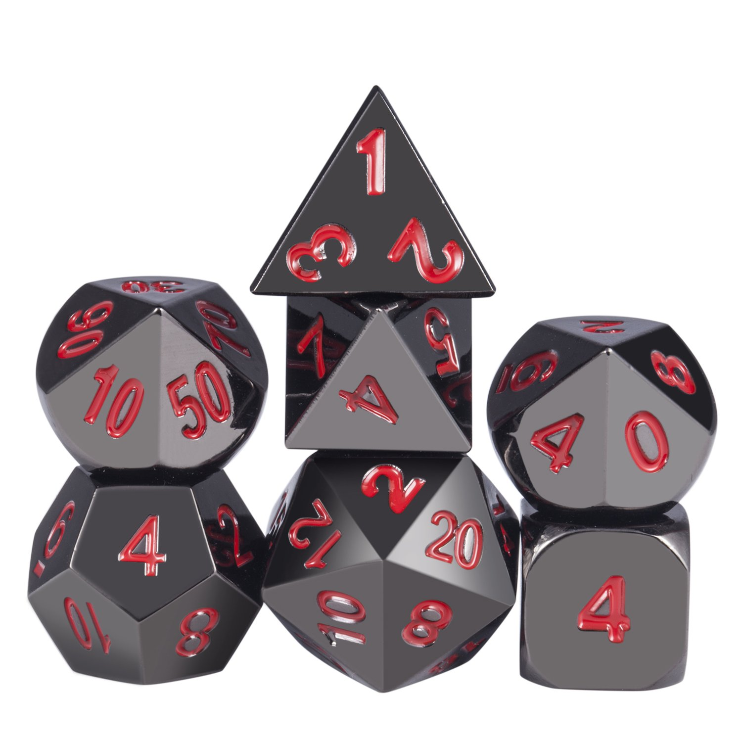 Metal Dice Set D&D, 7-Die Polyhedral Metallic Dice Set with Heavy Zinc Alloy Black Color and Red Numbers, for Role Playing Game, DND, MTG,RPG and Table Game
