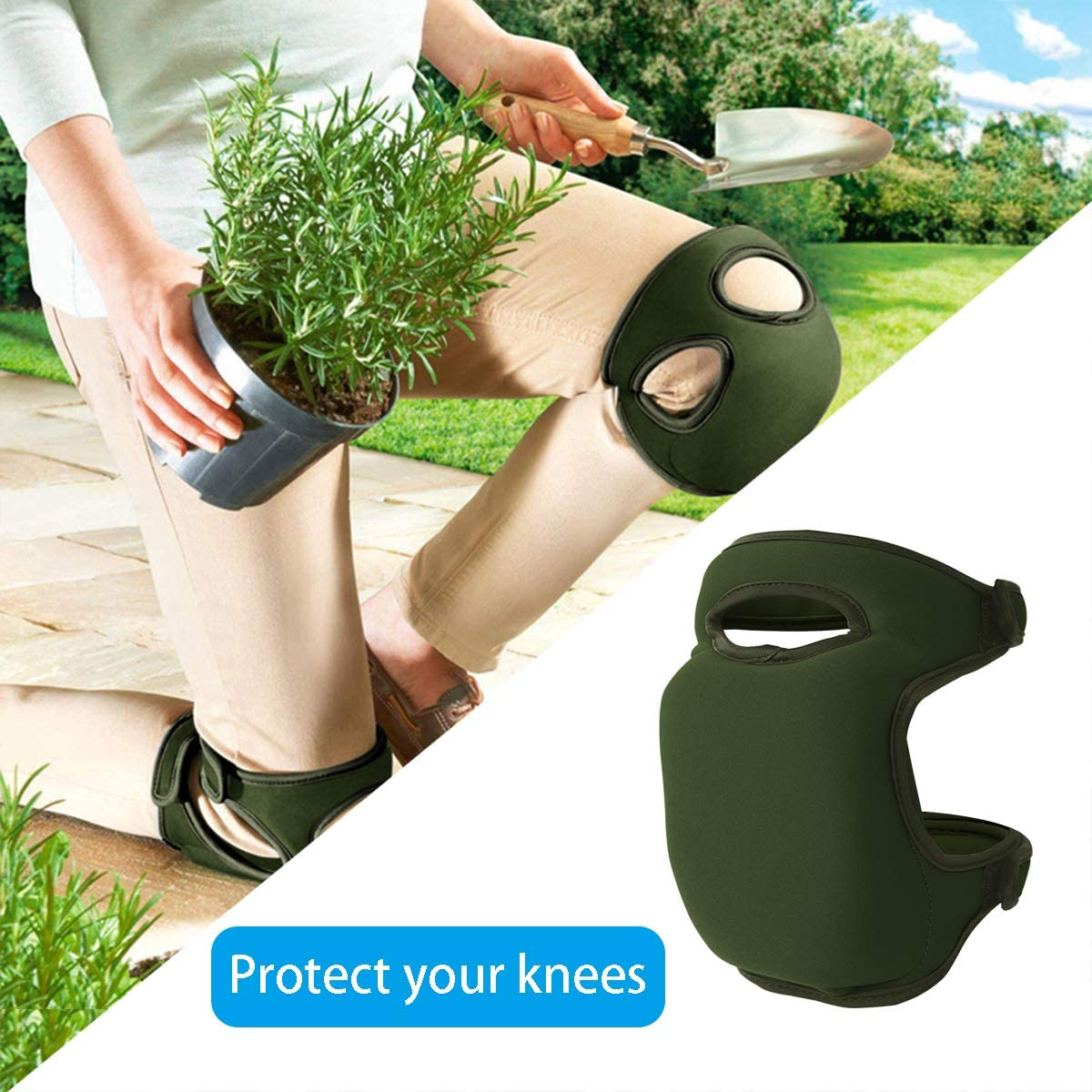 almohadilla de protecci/ón profesional 3 capas Rodilleras de neopreno suave para jardiner/ía protectores de rodillas para trabajos de limpieza de jard/ín con doble correa limpieza de suelos