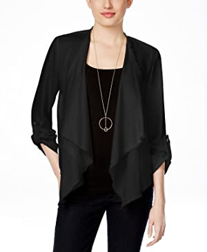 Karen Kane Women's Medium Draped Raw-Hem Jacket Black M