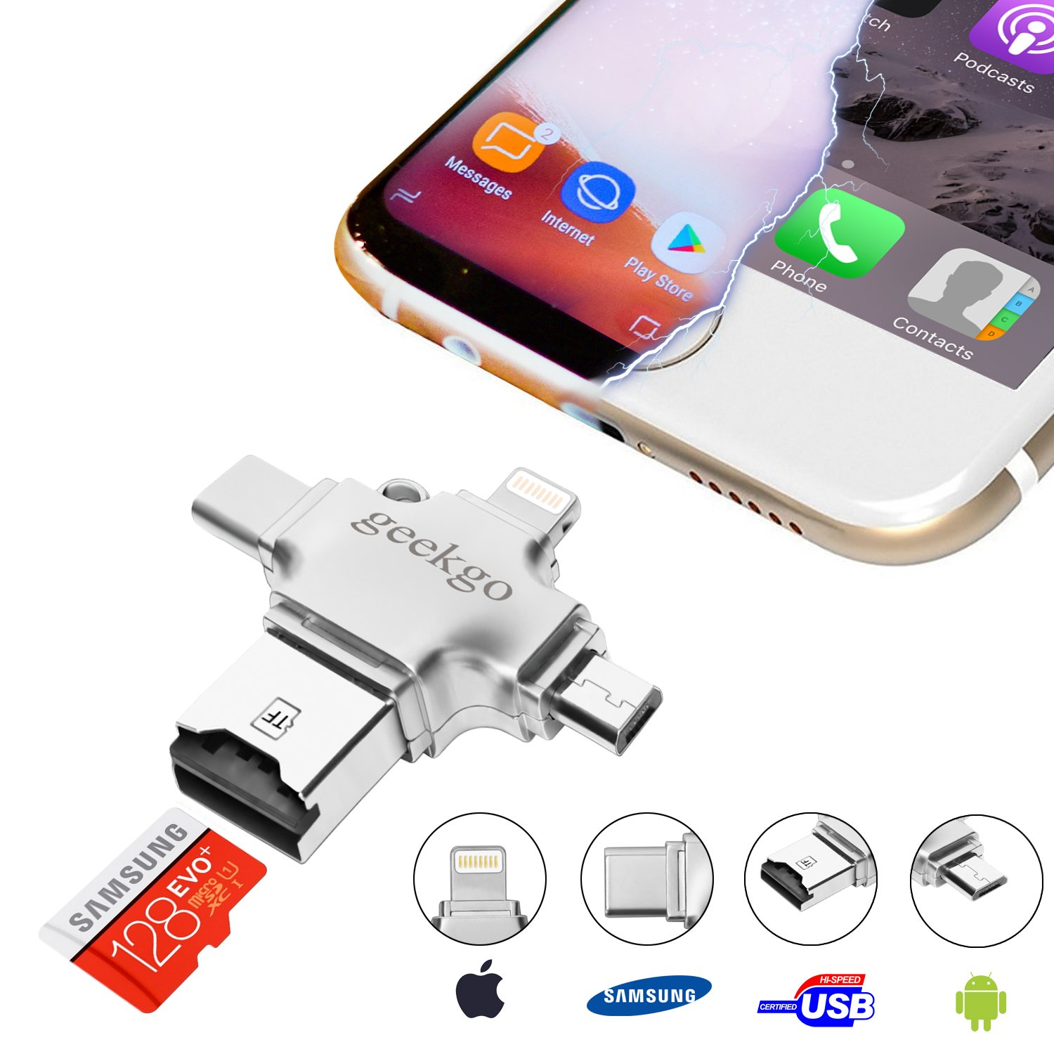 geekgo Micro SD Card Reader for iPhone/iPad/Android Phone/Samsung/Apple Macbook/PC,Memory Card Adapter with Lightning/USB C/Micro USB,Support 8GB/16GB/32GB/64GB/128GB/256GB Micro SD/SDHC/SDXC/TF Cards by geekgo
