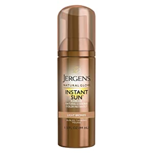 Jergens Natural Glow Instant Sun Sunless Tanning Mousse for Body, Light Bronze, 1.5 Fluid Ounce
