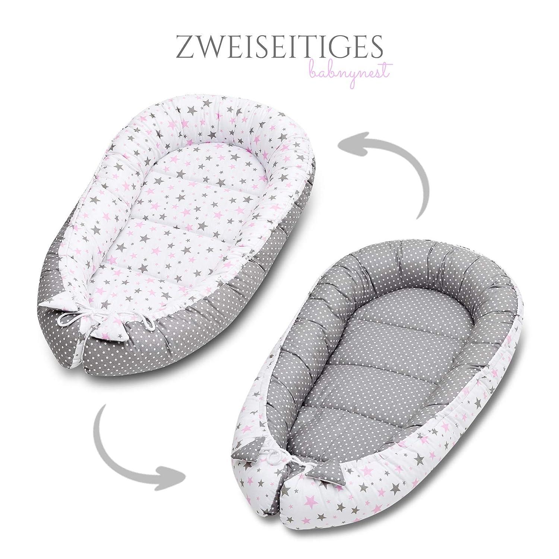 Bellochi 5 tlg Baby Erstausstattung Set Baby Nestchen Bett 90x60 cm Babynest Kuschelnest-Set mit Matratze Kuscheldecke Baby flaches Kissen mit Bez/üge Baby Kopfkissen blau und graue Sterne
