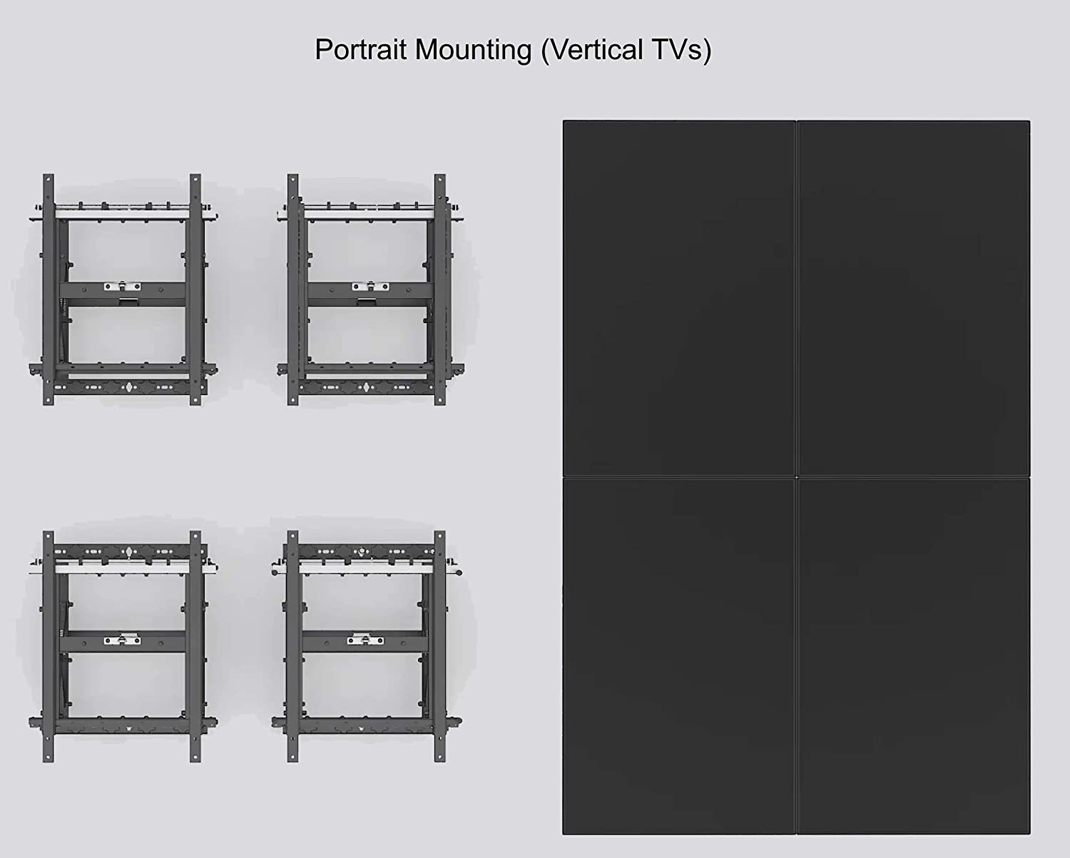 Video Wall TV Pop Out Mount 600x400 Vesa Portrait Display Push with Micro Adjustment Arms Vesa Universal TV Television 3x3 2x2 3x2 2x3 4x4 5x5 Articulating Peerless (Video Wall Mount - Pop Out)