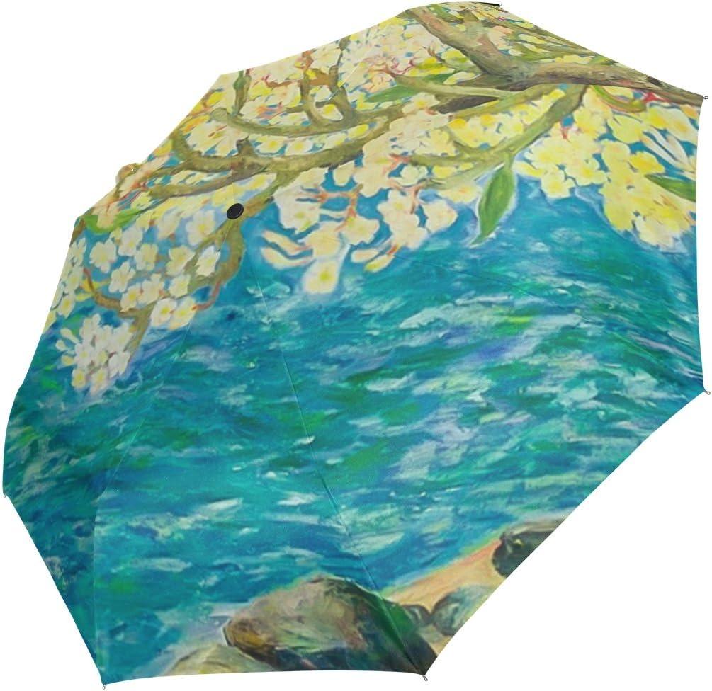 DOENR River Tree Compact Travel Umbrella Sun and Rain Auto Open Close Umbrellas Windproof UV Protection Umbrella