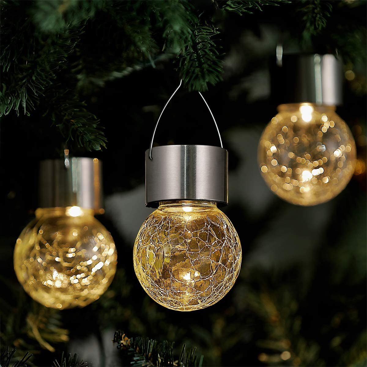 ELYXWORK Hanging Solar Lights Outdoor Garden Decorative, Solar Crackle Globe Hanging Ball Lights Warm White LED Waterproof Outside Solar Lanterns for Yard, Patio, Tree or Holiday Decoration 4 Pack