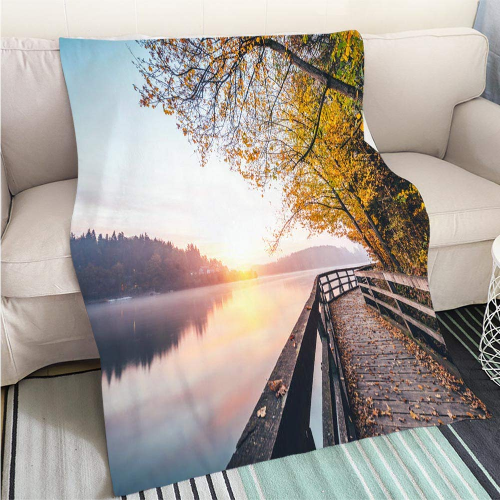 color19 31 x 47in Luxury Super Soft Blanket Sunrise at Riva Del Garda Perfect for Couch Sofa or Bed Cool Quilt