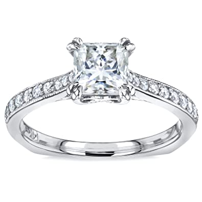 a00faf804e1d4 Princess Moissanite and Diamond Square Shank Trellis Engagement Ring 1 1 10  CTW 14k White