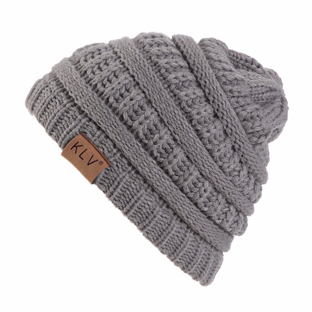 HULKAY Children's Caps Premium Cute Soft Stretch Winter Trendy Warm Wool Knitted Hat(Gray)