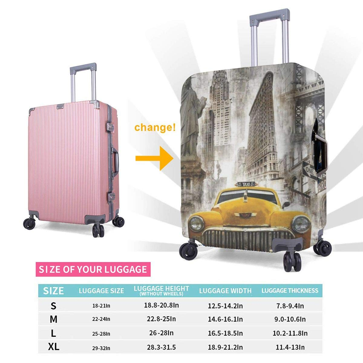 Travel Luggage Cover Suitcase Protector Spandex Washable Zipper Baggage Covers Retro Nostalgic Car The Statue Of Liberty Fit 18 To 32 Inch