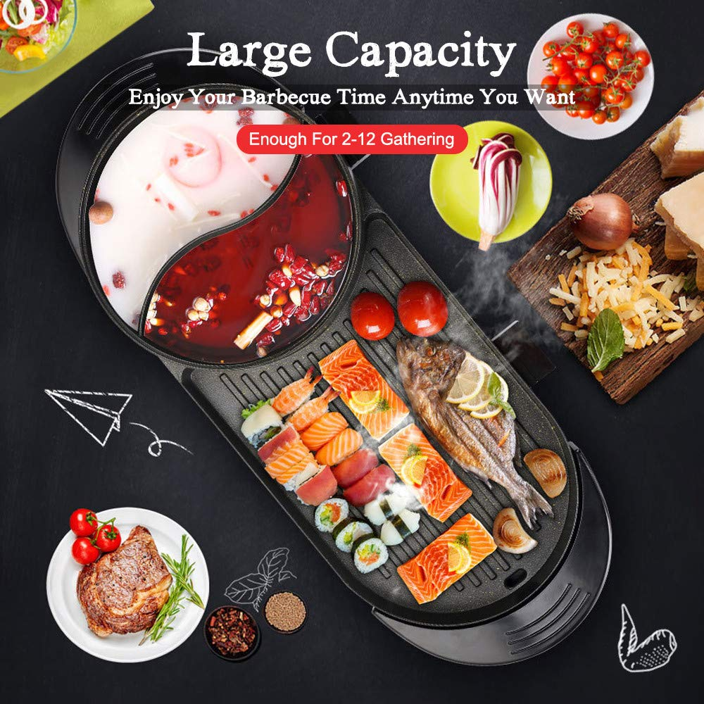 SEAAN Electric Grill Indoor Hot Pot Multifunctional, Indoor Teppanyaki Grill/ Shabu Shabu Pot with Divider - Separate Dual Temperature Contral, Capacity for 5 People, 110V by SEAAN (Image #7)