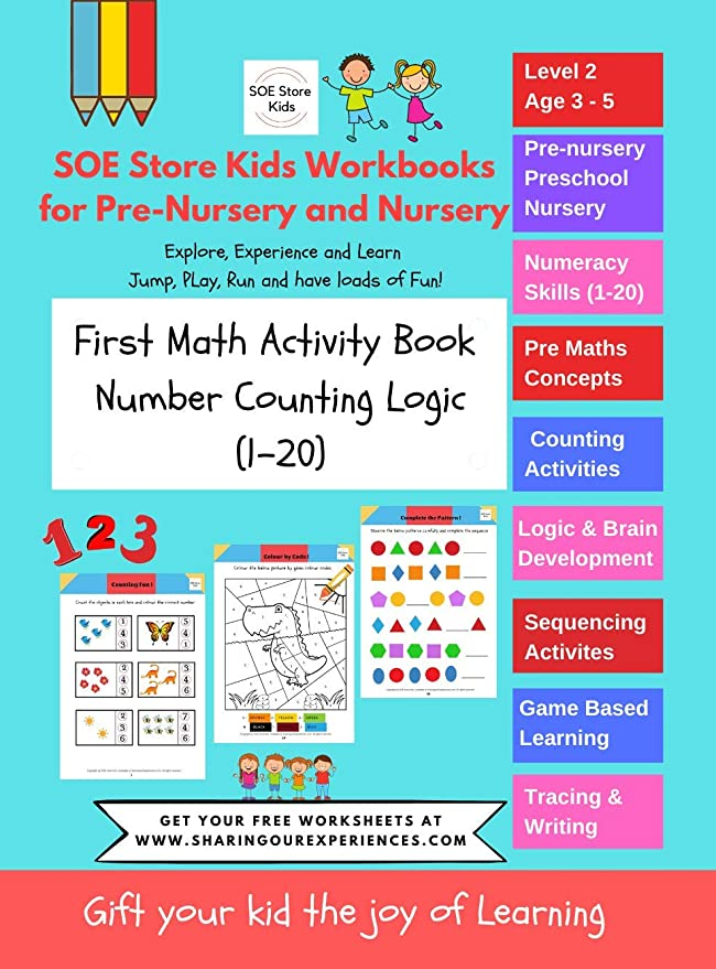 Buy SOE Store Kids Preschool Nursery Maths WORKBOOK Maths Activity Book  For 3 4 Year Old..Logical Reasoning, Counting And Fun Activities Online At  Low Prices In India - Amazon.in
