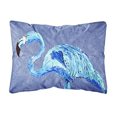 Caroline's Treasures 8873PW1216 Flamingo On Slate Blue Canvas Fabric Decorative Pillow, 12H x16W, Multicolor : Garden & Outdoor