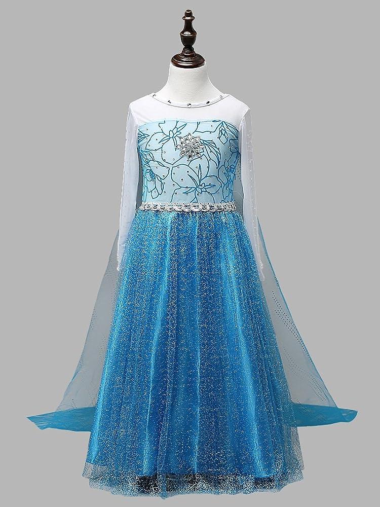 FE9DB oscuro azul vestido de cristal de Elsa Frozen Niñas Disfraz ...