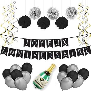 Decoration Anniversaire Banderole Joyeux Anniversaire Ballons