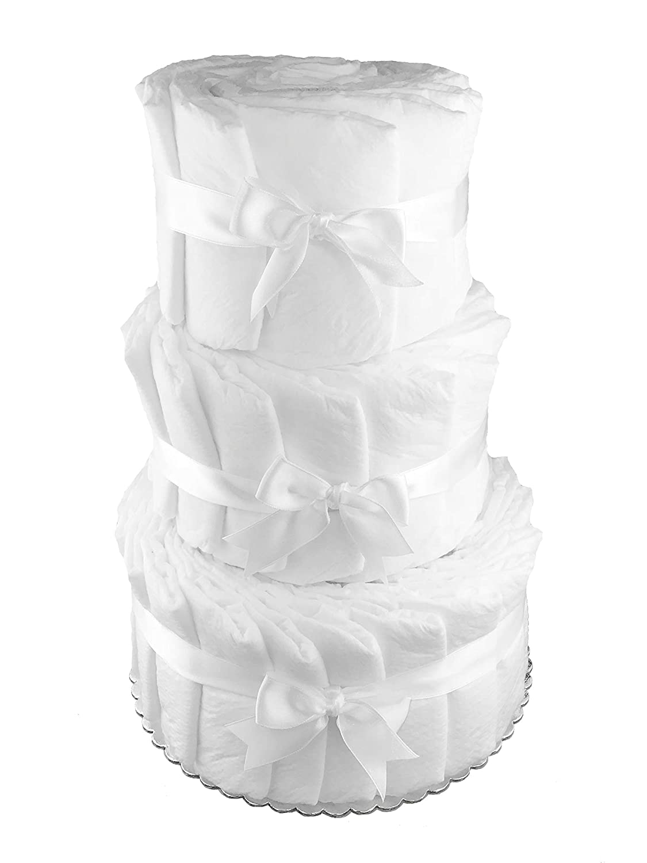 Plain Do it Yourself 3-Tier Diaper Cake - Baby Shower Centerpiece - White Sunshine Gift Baskets