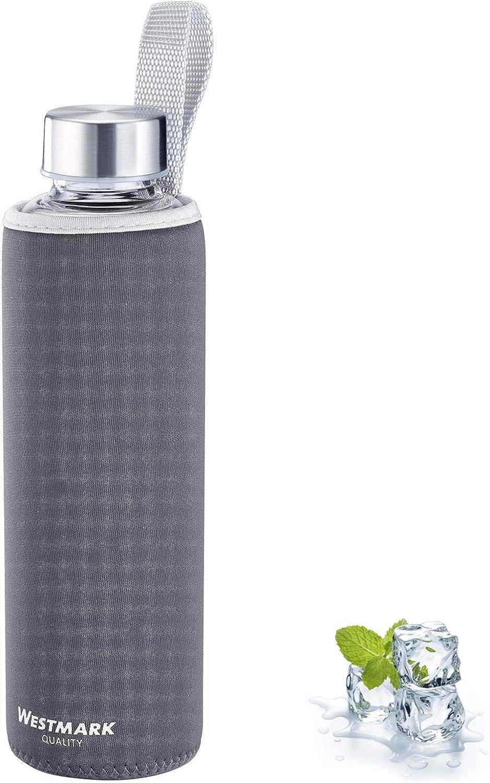 Westmark 5272226A - Botella de agua de cristal con estampado, 550 ml, cristal, silicona y caucho, sin BPA, color antracita, plateado y transparente
