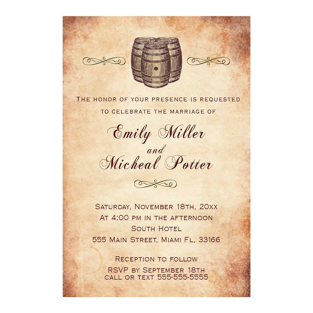 100 Wedding Invitations Wine Barrel Vintage Rustic Paper Design + Envelopes
