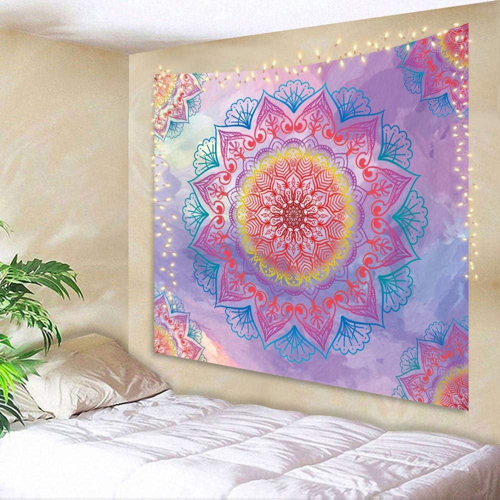 AMBZEK Girls Mandala Tapestry Colorful Rainbow Kids Bright Boho 51Hx59W Inch Teen Cute Pastel Pink Gradual Change Hippie Floral Psychedelic Art Wall Hanging Bedroom Living Room Dorm Decor Fabric