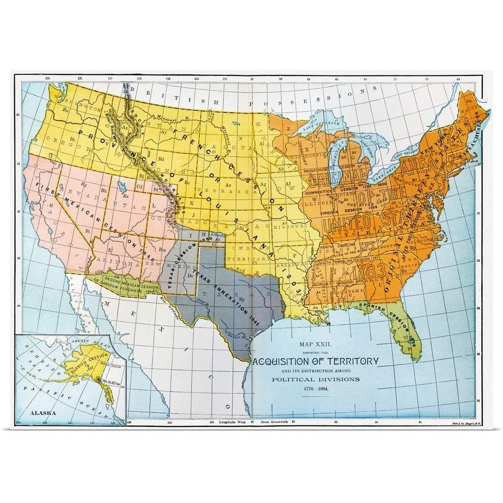 Amazon.com: GREATBIGCANVAS Poster Print Entitled A Map Showing ...