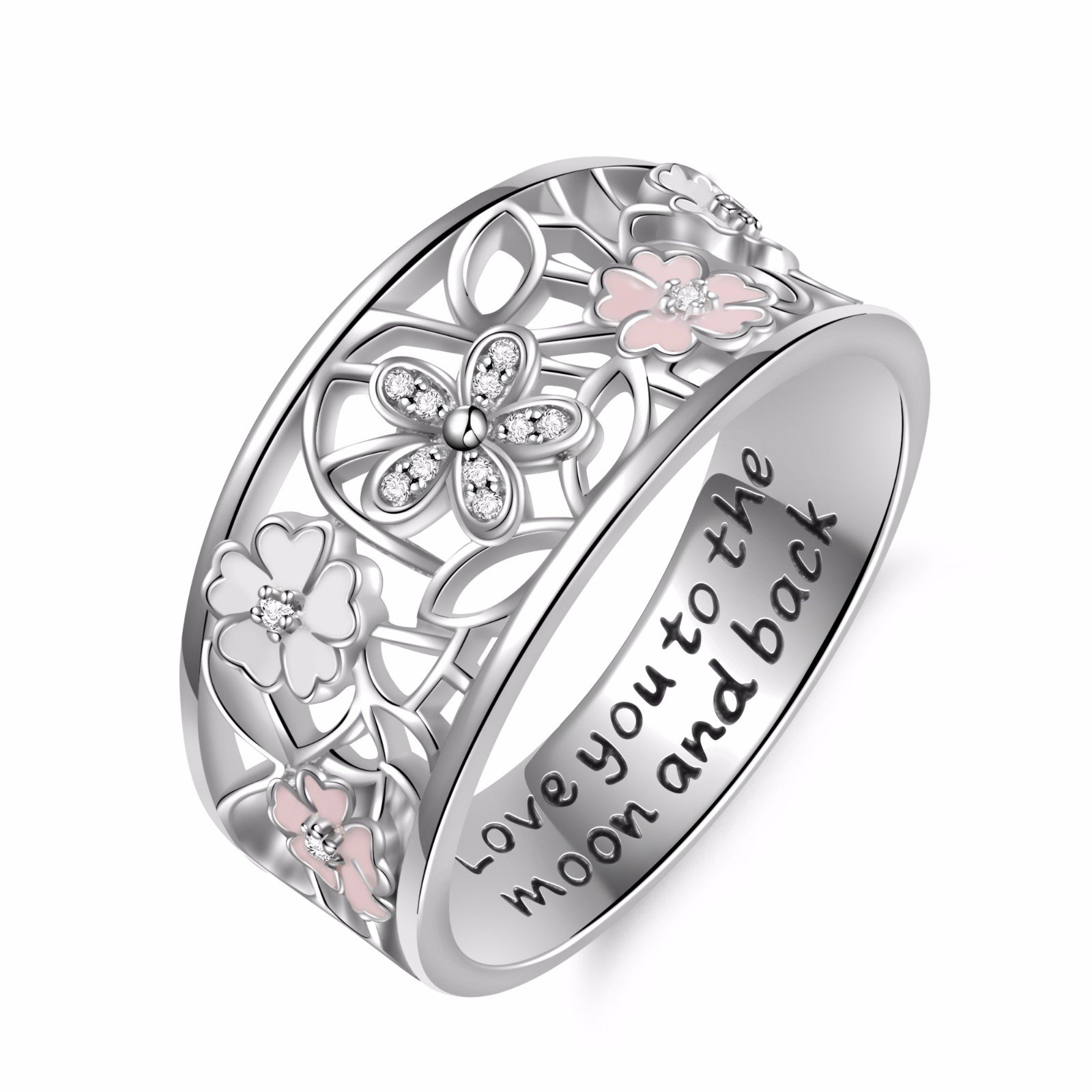 Angemiel 925 Sterling Silver Cubic Zirconia Flower Promise Ring For Women Jewelry Family Friend Love