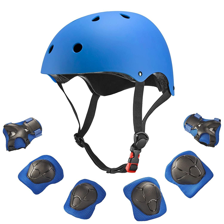Dostar Kids Helmet Knee Pads for 3-10 Years Toddler Helmet, 7 Pcs Outdoor Sports Protective Gear Set Bike Hoverboard Cycling Scooter Skateboard Adjustable Helmets for Kids