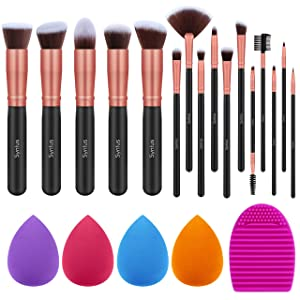 Syntus Makeup Brush Set, 16 Makeup Brushes & 4 Blender Sponge & 1 Brush Cleaner Premium Synthetic Foundation Powder Kabuki Blush Concealer Eye Shadow Makeup Brush Kit, Rose Golden