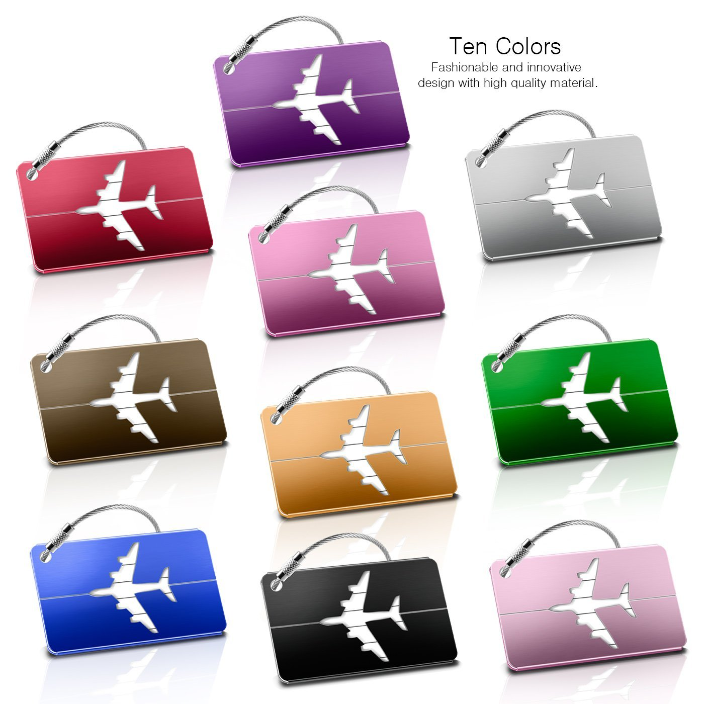 Luggage Tags 10pcs,Baggage Tags Tag Labels with Business Card Holder(10 colors) by Yosemy (Image #2)