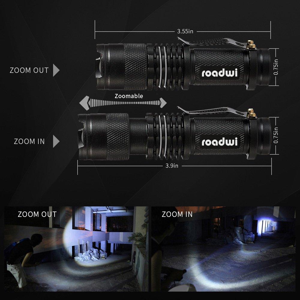 [2 PACK] Roadwi Mini Taschenlampe, Zoomable LED Taschenlampe, 3 Leuchtmodi, IP44 wasserdicht, LED Camping Lampe, Outdoor Lampe für Camping, Outdoor, Wandern, Laufen, Radfahren, Angeln, Abenteuer