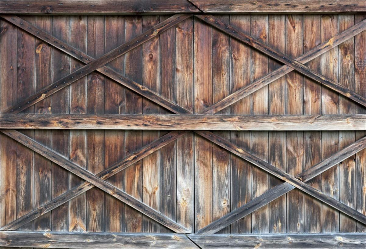 YEELE Wooden Barn Door Backdrop 12x8ft Rustic Brown Wood Western Country Grunge Farmhouse Photography Background Fall Event Church Decor Baby Shower Wedding Family Photoshoot Props Digital Wallpaper