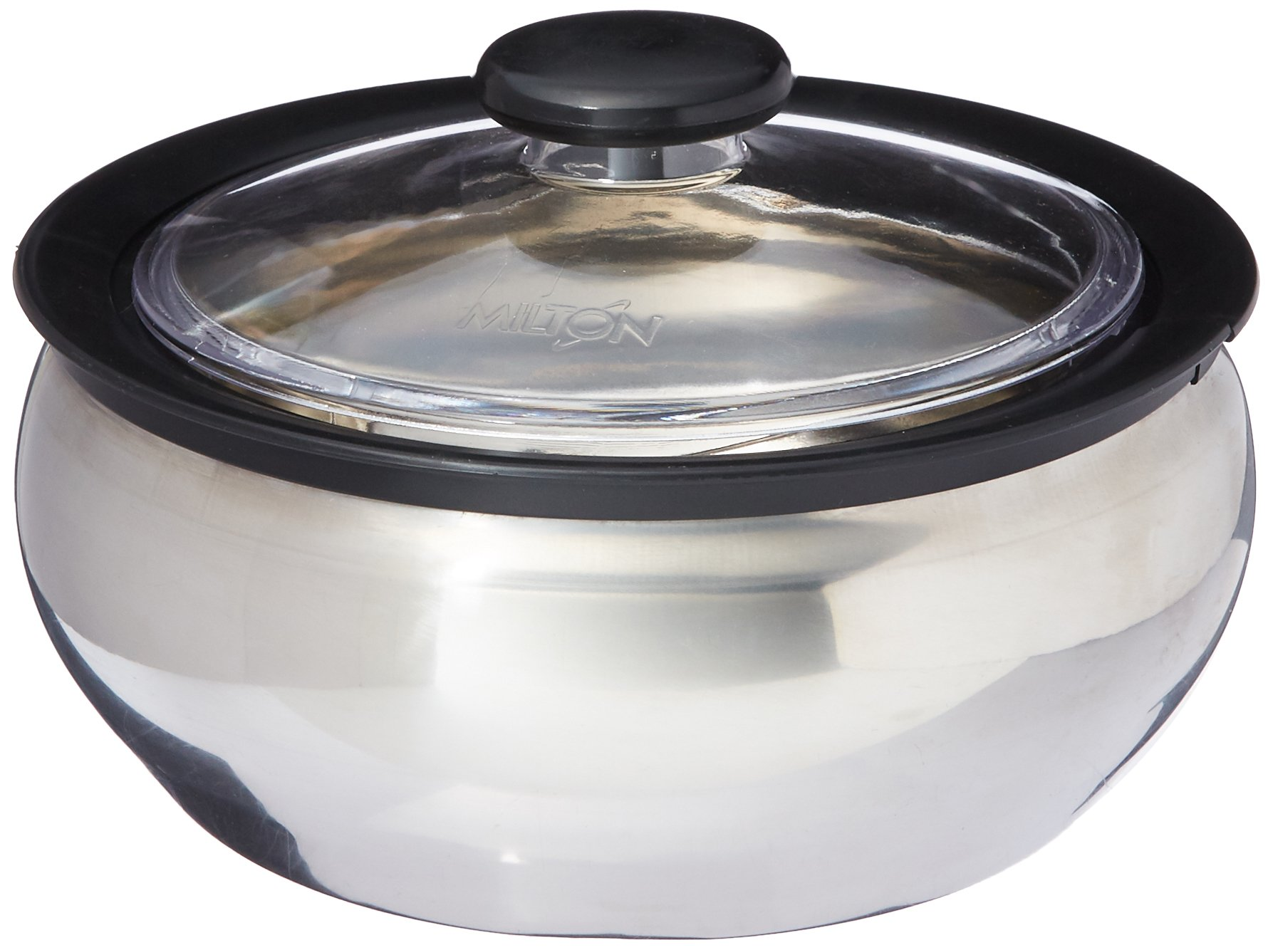 Milton ClearSteel Hot Pot Keep Warm/Cold Insulated Casserole with Stainless Steel Insert and Clear Lid, 1500ml/Small, Silver by Milton