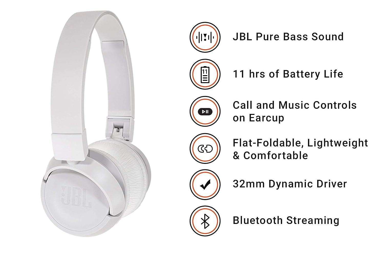 JBL T450BT - Auriculares de diadema inalámbricos con Bluetooth 4.0, sonido Pure Bass, 11h de música continua, blanco: Amazon.es: Electrónica