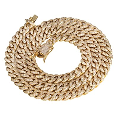 866f6dd9b3761 PY Bling 8mm Mens Iced Out Hip Hop Miami Cuban Link Chain Choker 14K/18K  Gold White Gold Plated CZ Necklace/Bracelet 8.5
