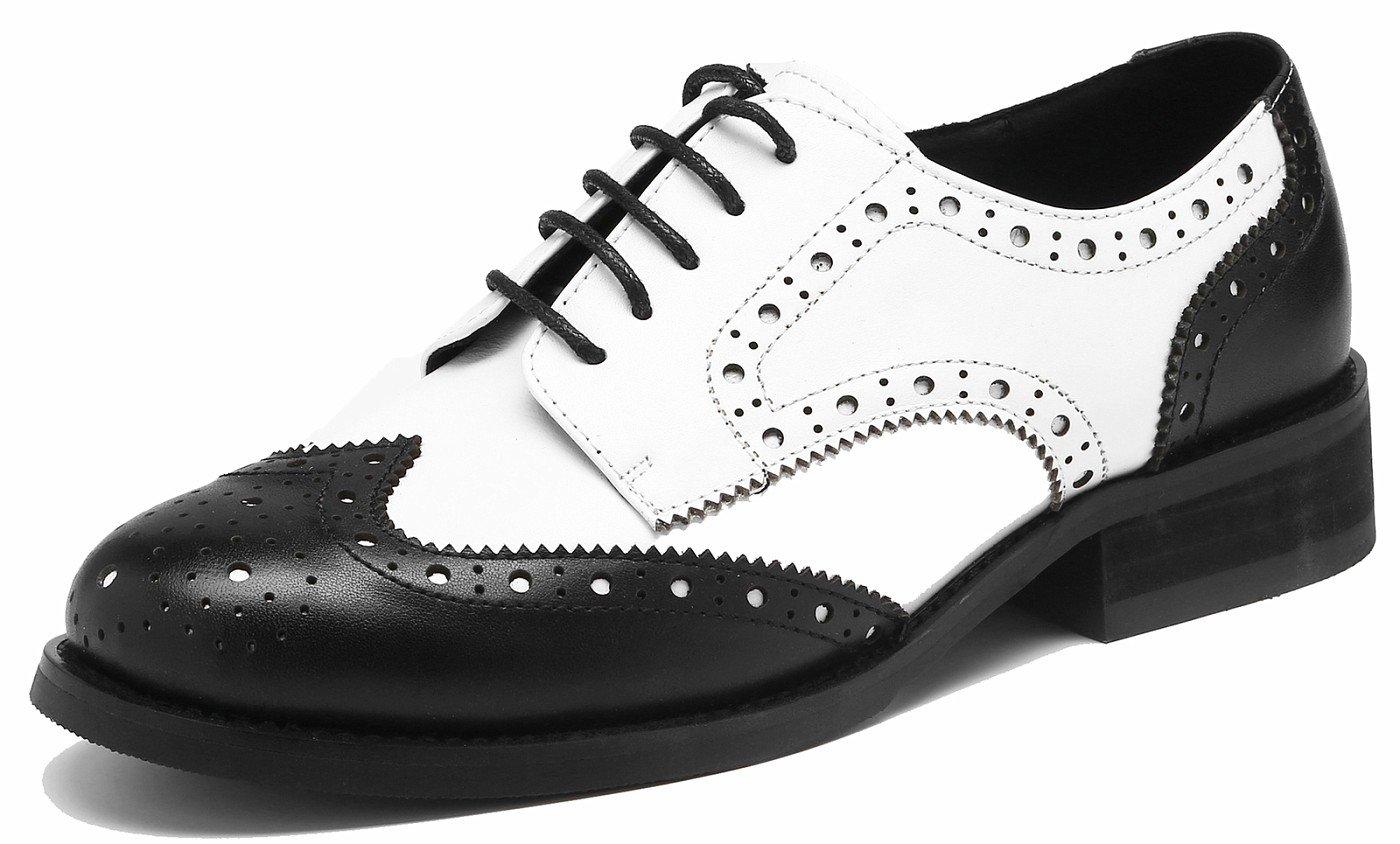 SimpleC Las mujeres perforaron Wingtip Leather Oxfords, Vintage Brogue cómodo Office Low Heel Shoes 36 EU|Blanco Negro
