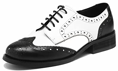 Classique Cuir Style Chaussures Derbies Pour Femme à Talonnettes Mona Noir41 Ne78QZz7