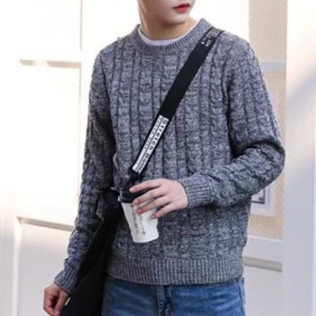 Tootless-Men Casual Solid-Colored Long Sleeves Soft Pullover Sweater