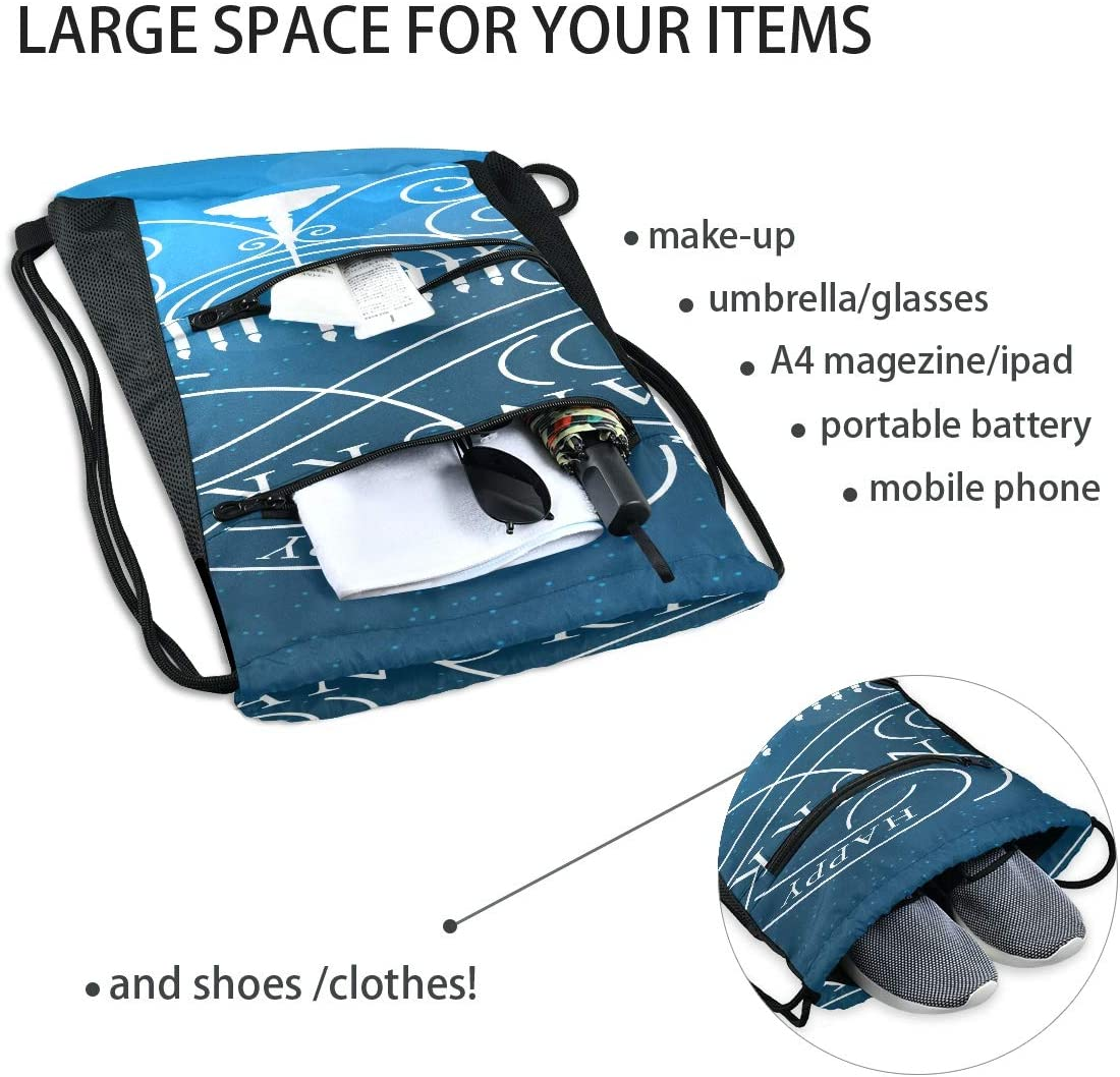 Bag Drawstring Bag Greeting Happy Festival Celebration Cool Backpacks For Men Bag For Gym Lightweight With Zipper Pocket Sports Athletic School Travel Gym Cinch Sack